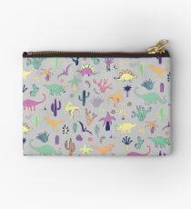 Dinosaur Desert - peach, mint and navy - fun pattern by Cecca Designs Studio Pouch