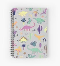 Dinosaur Desert - peach, mint and navy - fun pattern by Cecca Designs Spiral Notebook
