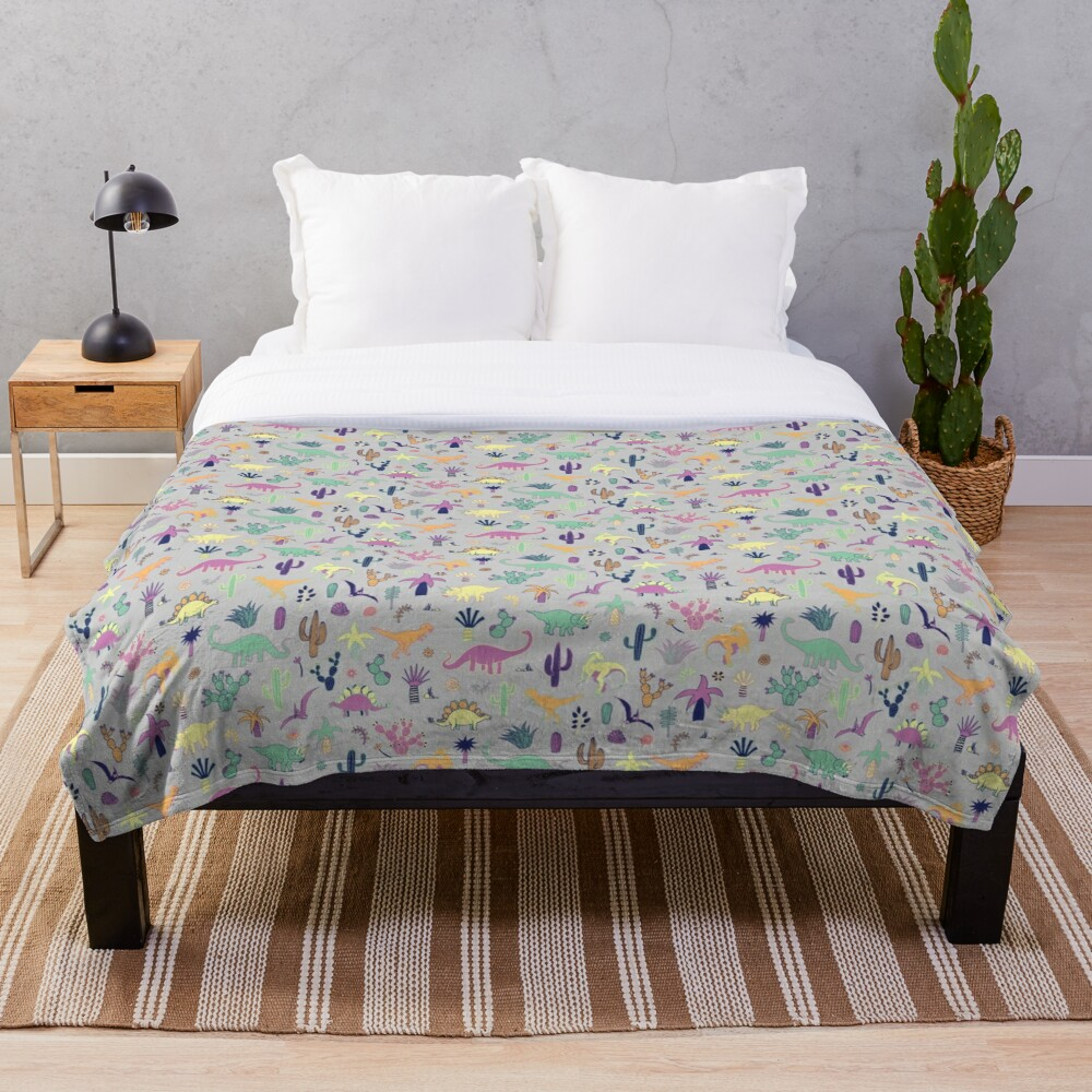 Dinosaur Desert - peach, mint and navy - fun pattern by Cecca Designs Throw Blanket