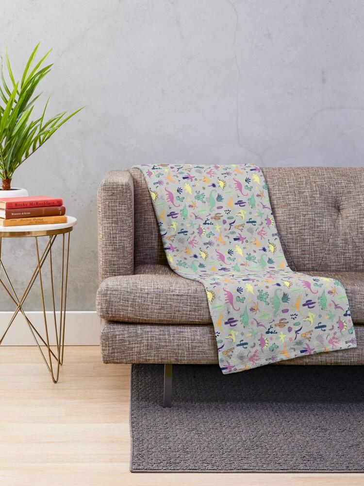 Alternate view of Dinosaur Desert - peach, mint and navy - fun pattern by Cecca Designs Throw Blanket
