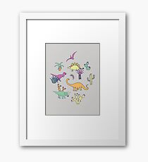 Dinosaur Desert - peach, mint and navy - fun pattern by Cecca Designs Framed Print