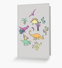 Dinosaur Desert - peach, mint and navy - fun pattern by Cecca Designs Greeting Card