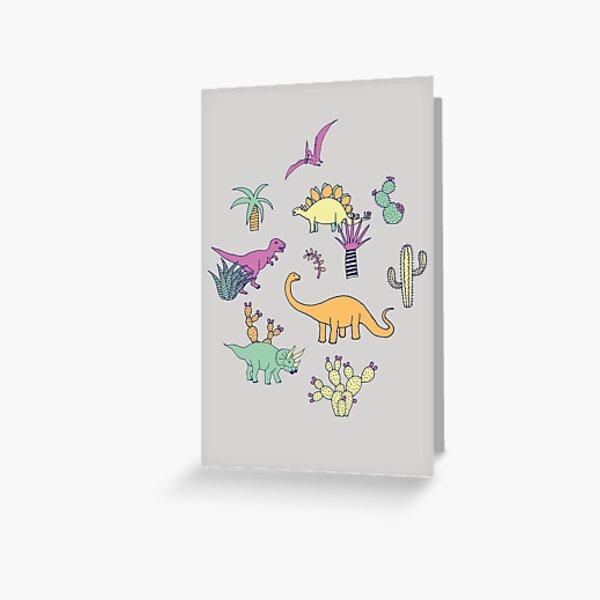 Dinosaur Desert - peach, mint and navy - fun pattern by Cecca Designs Greeting Card