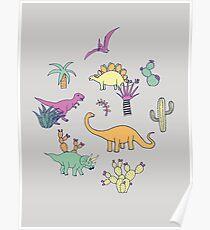 Dinosaur Desert - peach, mint and navy - fun pattern by Cecca Designs Poster