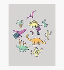 Dinosaur Desert - peach, mint and navy - fun pattern by Cecca Designs Photographic Print