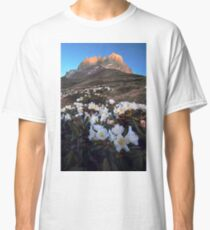 Rhododendron flowers on background of Chaukhi Classic T-Shirt