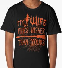 My Wife Flies Higher Than Yours Halloween Graphic Long T-Shirt