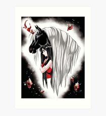 Goth Girl and Unicorn Art Print