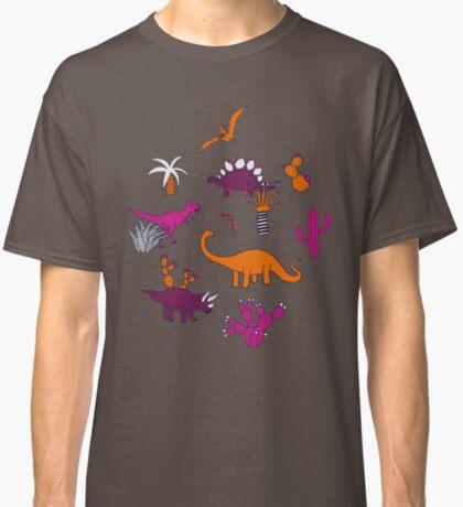 Dinosaur Desert - pink and orange on grey - fun pattern by Cecca Designs Classic T-Shirt