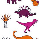 Dinosaur Desert - pink and orange on grey - fun pattern by Cecca Designs by Cecca-Designs