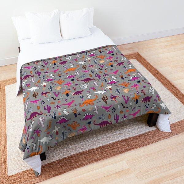Dinosaur Desert - pink and orange on grey - fun pattern by Cecca Designs Comforter