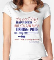 Happiness is a fishing pole white shirt Women's Fitted Scoop T-Shirt