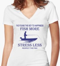 Key to happiness fish more stress less shirt Women's Fitted V-Neck T-Shirt