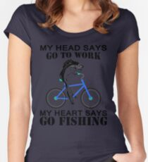 My heart says go fishing shirt Women's Fitted Scoop T-Shirt