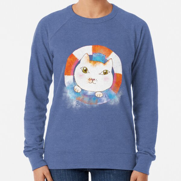 Sailor Cat Tommy with Lifebuoy and Water Splash Lightweight Sweatshirt