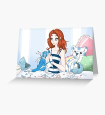 Girl and Newborn Dragon Hatchling Greeting Card