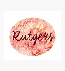 Rutgers sticker: red and orange abstract watercolor Photographic Print
