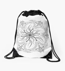 "Manta Ray Spiral Mandala Tribal and Native Style Print - Large Scale Print - 50""x50"" Drawstring Bag"