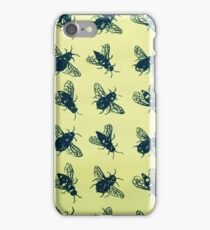 Yellow bee Hand drawn black bumble bee iPhone Case/Skin