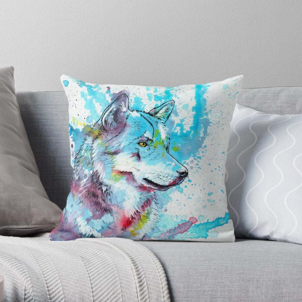 Wild Wolf Wolf Painting Animal Art Wildlife Illustration Throw Pillow By Floartstudio Redbubble
