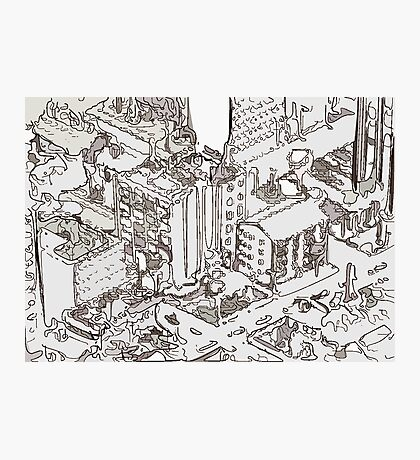 City Drawing Photographic Print