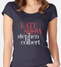 Late show with stephen colbert mug Women's Fitted Scoop T-Shirt