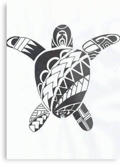 Tortue De Tatouage Maori Impressions Metalliques Par Bogdan Pavic