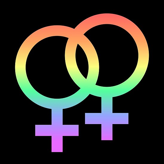 lesbian pride symbol - rainbow black