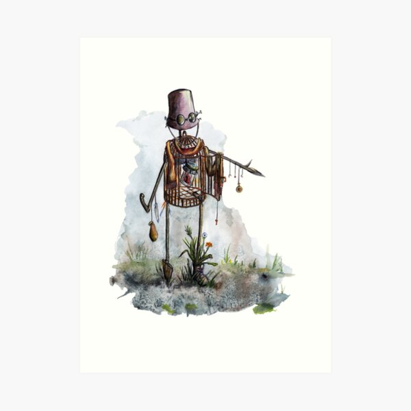 Scarecrow with the heart Art Print