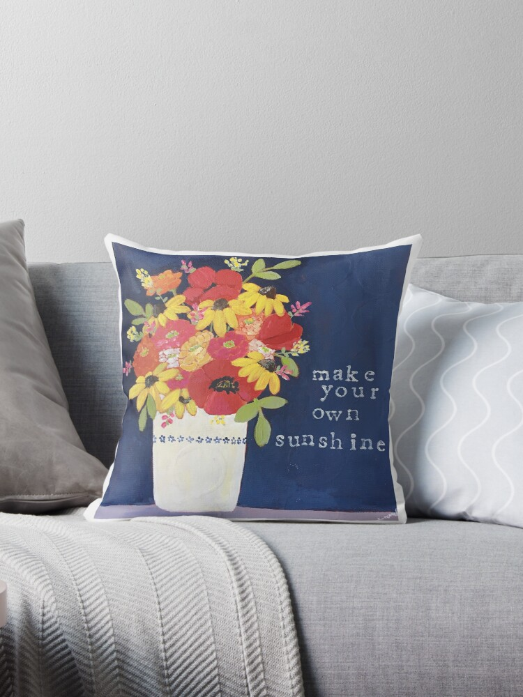 make your own sunshine throw pillows by creativemella redbubble
