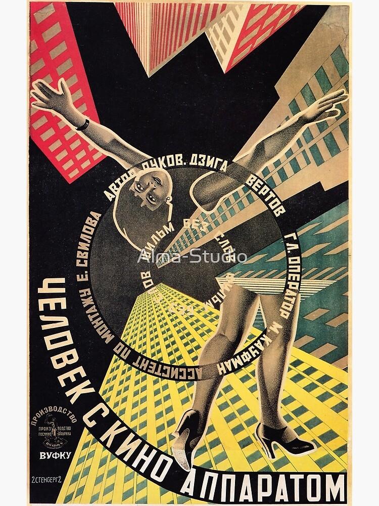 Man with a Movie Camera, vintage movie poster, 1929 by Alma-Studio