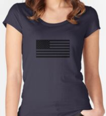 American Flag - Olive Women's Fitted Scoop T-Shirt