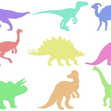 Colorful Dinosaur Silhouette Design by adventuretimes