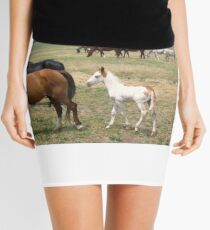 wild mustangs and foal Mini Skirt