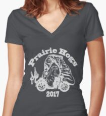 Prairie Hogs Colored Women's Fitted V-Neck T-Shirt