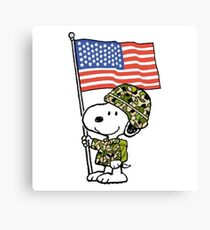 The Peanuts - Snoopy Army Canvas Print