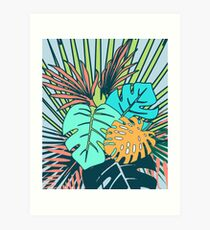 Tropical Leaves blue Art Print