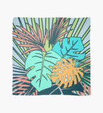 Tropical Leaves blue Scarf
