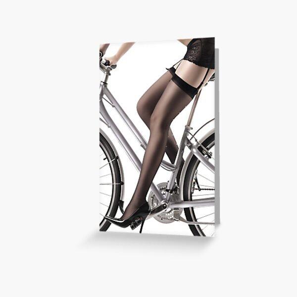 Sexy Woman Riding a Bike in Lingerie and Stockings art print Greeting Card