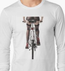 Sexy Woman Riding a Bike With high heels and stockings on her legs art print T-Shirt