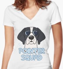 POINTER SQUAD (black and white) Women's Fitted V-Neck T-Shirt
