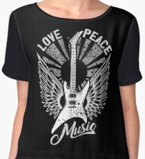 FOR THE LOVE OF MUSIC A GUITAR PLAYER ROCK MUSICIANS DESIGN BLACK Women's Chiffon Top