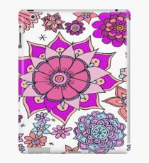 Pretty Floral Botanical Pink and Blue Flowers  iPad Case/Skin