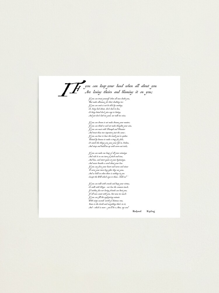 Alternate view of 'If' by Rudyard Kipling Photographic Print