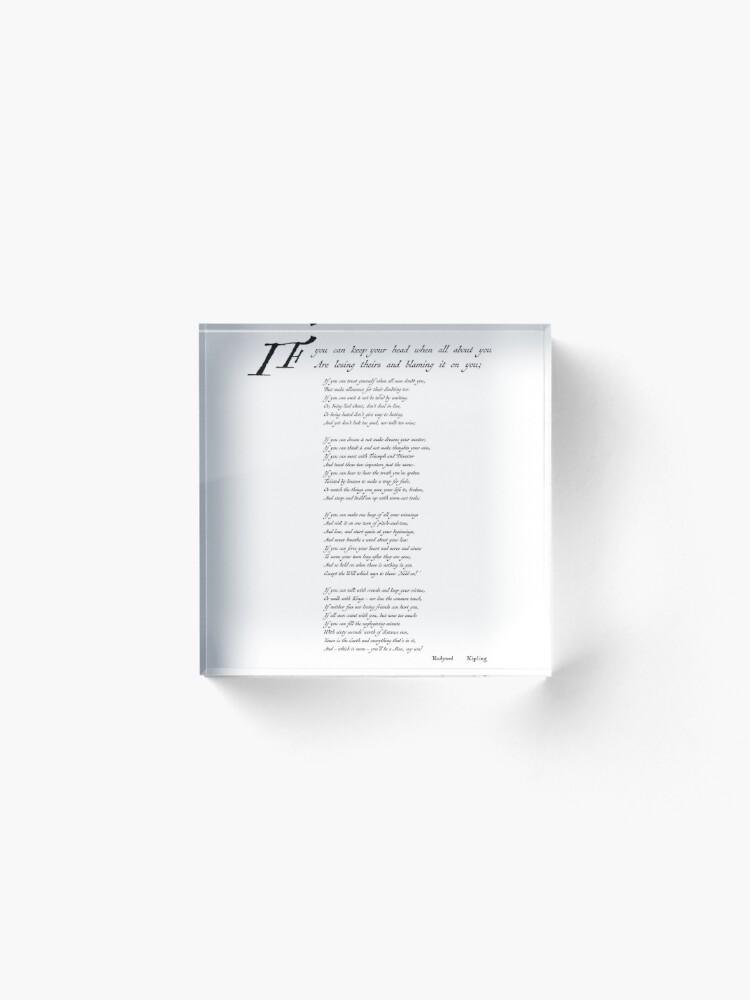 Alternate view of 'If' by Rudyard Kipling Acrylic Block