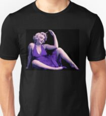 MARILYN MONROE : Blue Purple Psychedelic Print T-Shirt