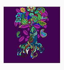 Psychedelic Paisley Tree hand-drawn Illustration on Plum Background Photographic Print