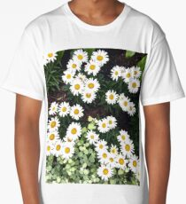A Handful of White Statement Flowers  Long T-Shirt