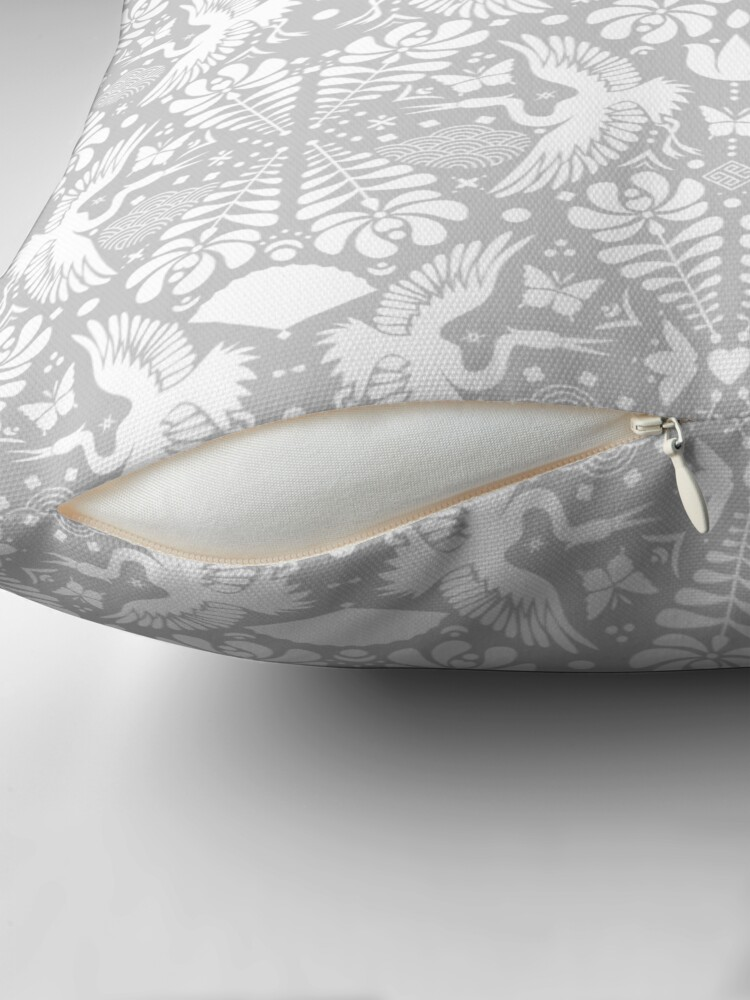 Alternate view of As the crane flies in Grey Throw Pillow