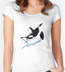 Dreamer Orca (Amber Marine, Indie Wildlife Artist Official Logo, copyright 2015) Women's Fitted Scoop T-Shirt